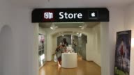entrance of Apple store / Mac Store / customers / shoppers / GUM interior GUM Mac Store on August 08 2012 in Moscow Russia