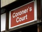 MS entrance to Coroner's Court sign 'Coroner's Court' above ZOOM IN to CMS sign LA MS top of Coroner's Court bldg TILT DOWN to MS entrance sign