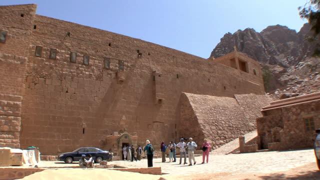 WS Entrance to St Catherine's Monastery through Justinian's defensive walls, Mount Sinai, Egypt