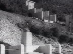 WS Enver Hoxha ribbon cutting in new electric power station crowd cheering as light switch on in streets AUDIO / Albania