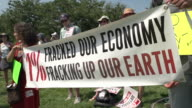 Environmentalists with AntiFracking Banner at US Capitol on July 28 2012 in Washington DC