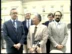 US Envoy Talks on El Salvador Civil War COLOMBIA LS Richard Stone walking TOWARDS Bogota MS Richard Stone Belisario Betancur and El Salvador rebel...