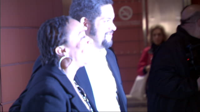 MS S Epatha Merkerson and unidentified date posing for paparazzi on the red carpet at the Stephen Sondheim theater in New York