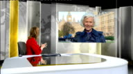 London GIR INT Honor Blackman 2 WAY interview from Westminster SOT Westminster EXT Equitable Life policy holders' protest outside Houses of...