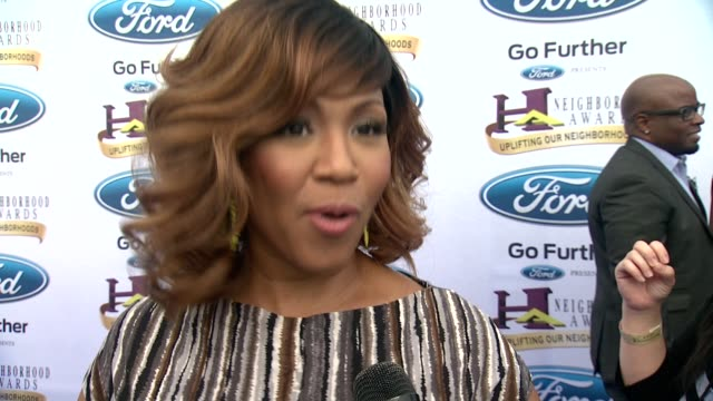 INTERVIEW Erica Campbell on acknowledging community on the importance of the awards showt at 2014 Ford Neighborhood Awards Hosted By Steve Harvey at...