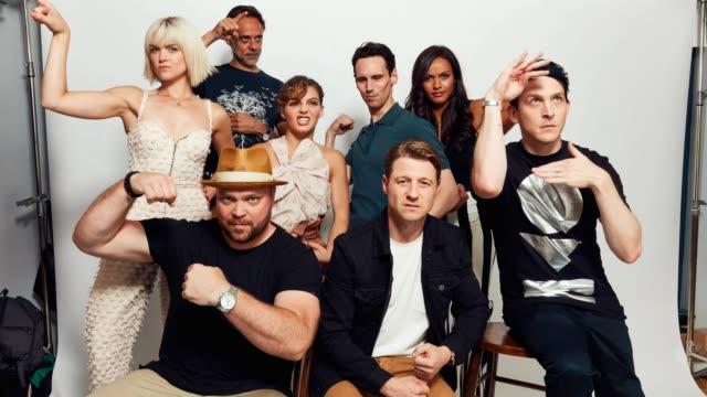 Erin Richards Alexander Siddig Drew Powell Camren Bicondova Cory Michael Smith Ben McKenzie Jessica Lucas and Robin Taylor pose for a gif at the 2017...