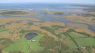 AERIAL Essex Bay and surrounding marshland / Essex, Massachusetts, United States