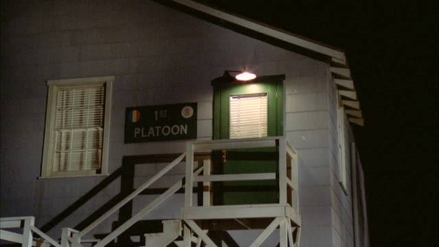 WS PAN TD  Establish Two Story Barracks Building With Sign '1st Platoon'