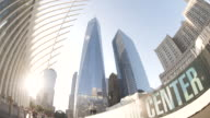 Establishing shot looking up at New York City's World Trade Center