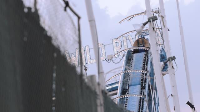 Establishing shot of a flume ride in Coney Island, Brooklyn.
