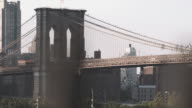 Establishing shot of New York City's Brooklyn Bridge.