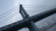 Establishing shot of New York City's Manhattan Bridge on a cloudy afternoon.
