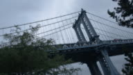 Establishing shot of New York City's Manhattan Bridge.