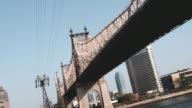 Establishing shot of New York City's Queensboro Bridge spanning the East River.