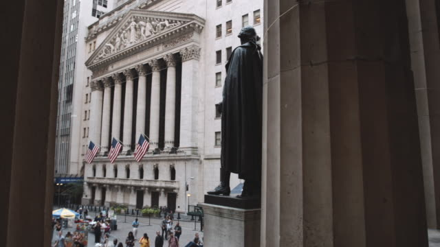 Establishing shot of New York City's Wall Street - 4k