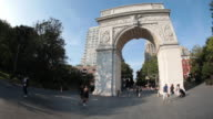 Establishing shot of New York City's Washington Square Park