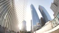 Establishing shot of New York City's World Trade Center at sunset
