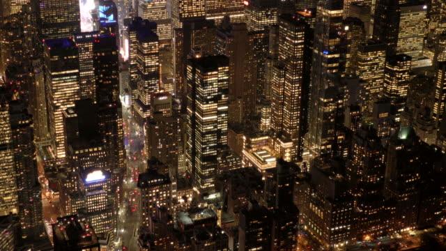 establishment shot of new york city skyline metropolis at night