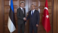 Estonian Foreign Minister Sven Mikser meets with Turkish Foreign Minister Mevlut Cavusoglu in Ankara Turkey on July 18 2017