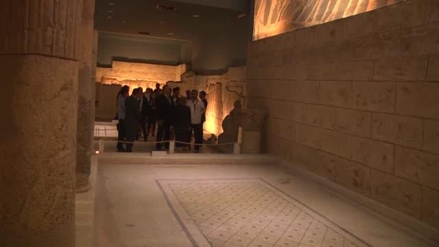 Estonian Prime Minister Juri Ratas accompanied by Mayor of Gaziantep Fatma Sahin visits the Zeugma Mosaic Museum the biggest mosaic museum in the...