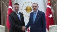 Estonian Prime Minister Juri Ratas is received by Turkish President Recep Tayyip Erdogan at presidential complex in Ankara Turkey on August 16 2017