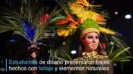 Estudiantes de diseno presentaron vestidos elaborados con base en follaje y elementos naturales durante el Biofashion 2016 un evento que mezcla moda...