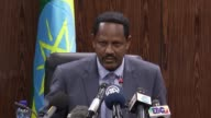Ethiopian Government Spokesman Negeri Lencho holds a press conference in Addis Ababa Ethiopia on February 03 2017 about the nine Yemeni people who...
