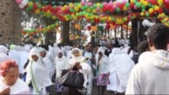 Ethiopian Orthodox Christians gather at the Church of St Mary during the Orthodox Christian celebration of the Feast of the Assumption of the Virgin...