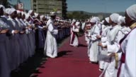Ethiopian people take part in a processional march on the first day of the three day Epiphany 'Timket' celebrations in Addis Ababa Ethiopia on...