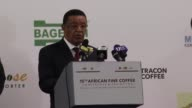Ethiopian President Mulatu Teshome Wirtu attends the opening ceremony of the 15th African Fine Coffee Conference and Exhibition at the Millennium...