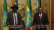 Ethiopian Prime Minister Hailemariam Desalegn and President of South Sudan Salva Kiir Mayardit hold a joint press conference after their meeting at...