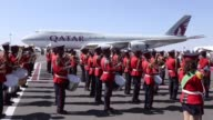 Ethiopian Prime Minister Hailemariam Desalegn bids farewell to Emir of Qatar Tamim bin Hamad Al Thani at Addis Ababa Bole International Airport in...