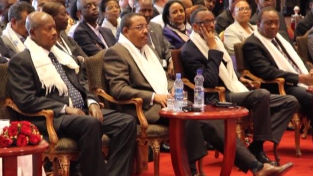 Ethiopian Prime Minister Hailemariam Desalegn Nigeria's former President Olusegun Obasanjo Rwandan President Paul Kagame Kenyan President Uhuru...