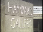 19 CR1661 ETHNIC ART EXHIBITION 19 ENGLAND London Hayward Gallery 0230 GV Hayward Gallery with poster for exhibition 'The Other Story' sign 'Hayward...