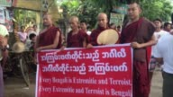 Ethnic Rakhine buddhists protest in Sittwe against former UN chief Kofi Annan's report that advocated citizenship for the Rohingya in Myanmar