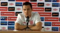 England press conference Stewart Downing arriving and taking seat Stewart Downing press conference SOT On the training facilities / what it means to...