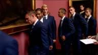 contenders POLAND Krakow EXT England footballers along past crwods man in crowd heard wishing Wayne Rooney good luck SOT England players Theo Walcott...
