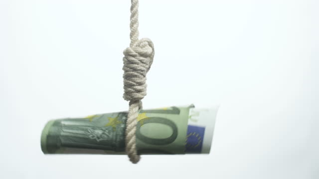 euro bill hangman  devaluating money hanging on the rope