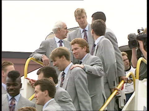 England Squad Arrive ENGLAND Beds Luton Airport LMS Members of England squad for European Football Championships on steps of Britannia Airlines...