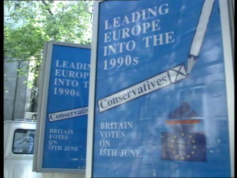 MEP's Thatcher EXT London Smith Sq CMS Conservative posters 'Leading Europe into the 1990s Conservatives' revolving stand CR457 For Sec Sir Geoffrey...