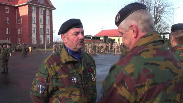 Eurocorps soldiers take part in an official ceremony at the unit's headquarters in Strasbourg to mark the deployment of the European force to the...