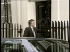 Conservative party EXT Downing St MS Norman Lamont MP along standing on doorstep