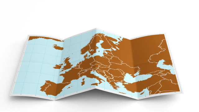 Europe map folds out on white. Three in one.