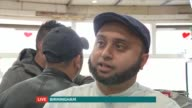 UK response to refugee crisis ENGLAND Midlands Birmingham INT Reporter LIVE to camera Shale Ahmed LIVE interview SOT Reporter LIVE to camera