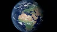 Europa öffnet sich nach der Erde zoom (mit alpha-matte)