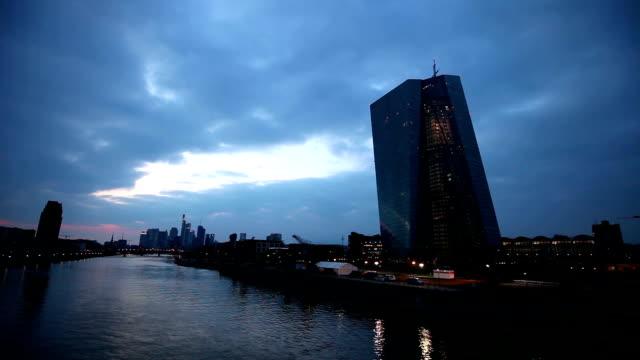 European Central Bank in Frankfurt by night