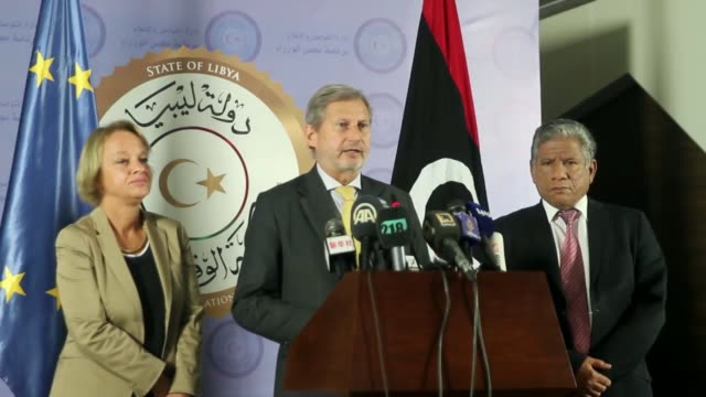 European Commissioner for European Neighbourhood Policy and Enlargement Negotiations Johannes Hahn speaks at a press conference in Tripoli Libya on...