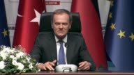 European Council President Donald Tusk speaks during a joint press conference of TurkeyEU Aid Program for Syrian Refugees with Turkish Prime Minister...
