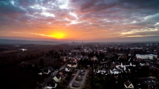 AERIAL : European Town at Sunrise