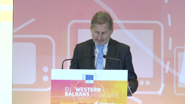 European Union Commissioner for Enlargement Johannes Hahn and Albanian Prime Minister Edi Rama attend the opening of the conference on 'Media Days...